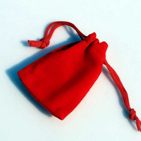 Jewellery velvet pouch drawstring red