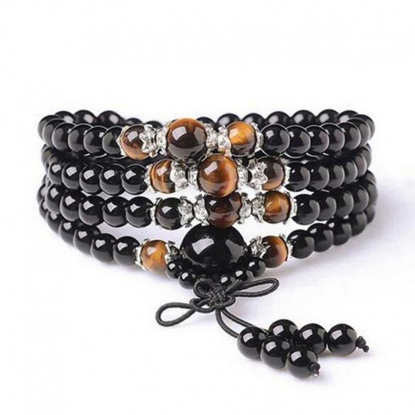 Mala Obsidian & Tiger Eye 108 gemstone beads