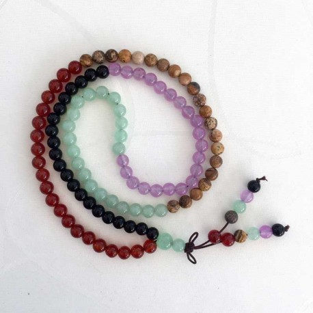 Mala 108 Beads Amethyst, Aventurine, Agate, Carnelian, Picture Jasper gemstone prayer necklace