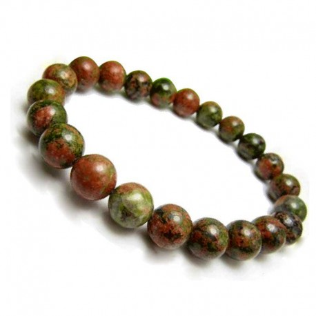 Unakite Bracelet gemstone beads 6mm or 8mm