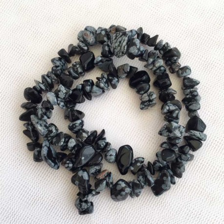 Obsidian Snowflake gemstone chips for jewellery making