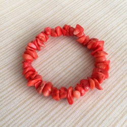 Coral Red Gemstone Chips Bracelet