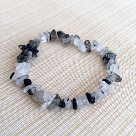 Tourmaline Quartz Crystal Chips Bracelet