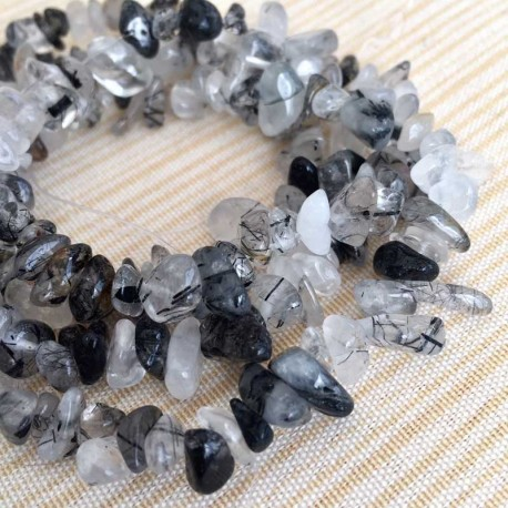 Tourmaline Quartz Crystal stone Chips 40cm Strand DIY jewelry