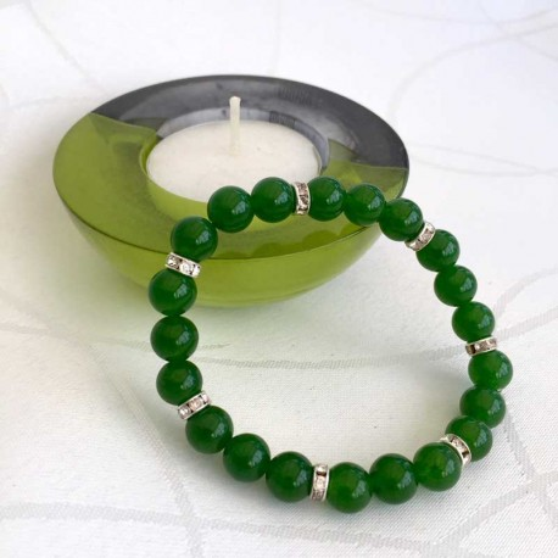 Armbånd Jade Grøn / Rhinesten 8mm jadeperler
