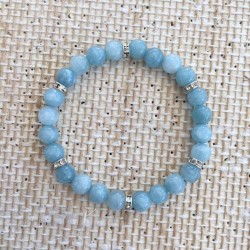 Aquamarine & Rhinesten Bracelet 8mm gemstone beads