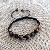 Tiger Eye Gemstone Braided Mens Bracelet
