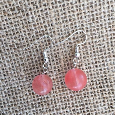 Watermelon Tourmaline Earrings Silver Plated