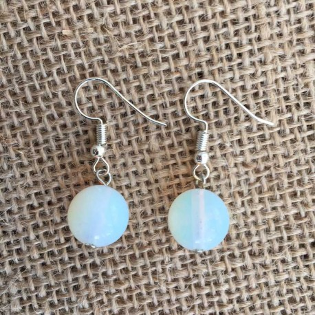 Opal Opalite Earrings Silver Plated