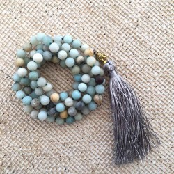 Knotted Mala Necklace 108 Amazonite gemstone beads for Meditation