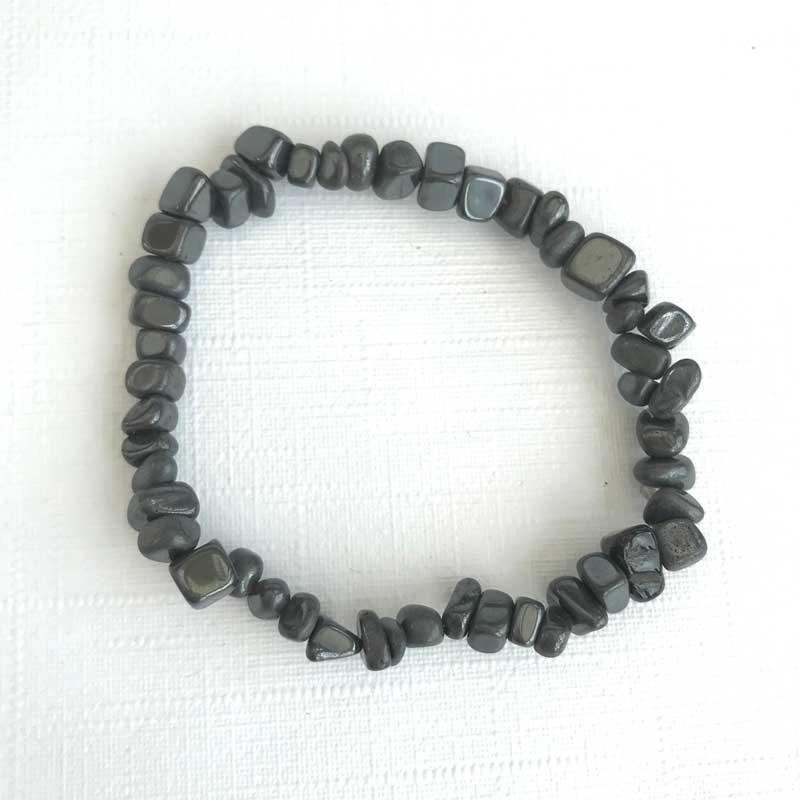 Agate Frost Mens Bracelet Black-White gemstone beads 6mm