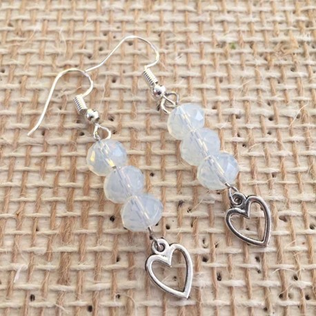 Opal Opalit Earrings Heart Pendant Silver Plated