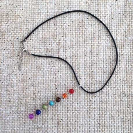 Chakra Stones Necklace black leather cord