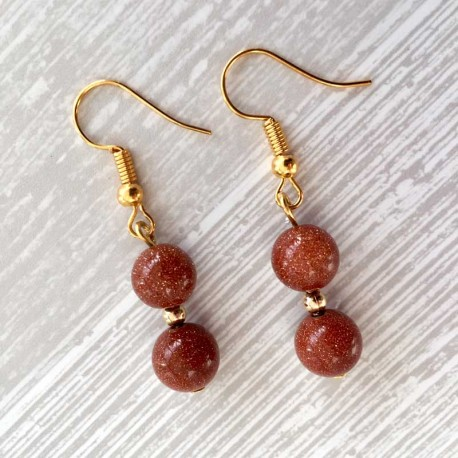 Goldstone (Golden Sandstone) Earrings Gold Plated