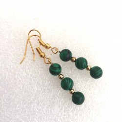 Malachite Earrings Gold Plated