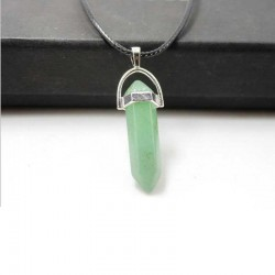 Aventurine Green Pendant & Leather Necklace