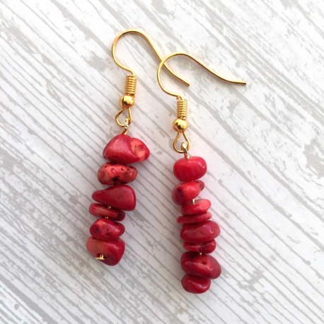 Natural Red Coral & Gold Gemstone Earrings
