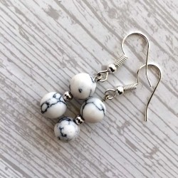 Howlite Earrings Silver Plated
