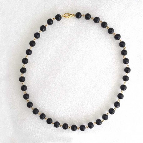 Agate Black Necklace Gold Plated 8mm faceted beads