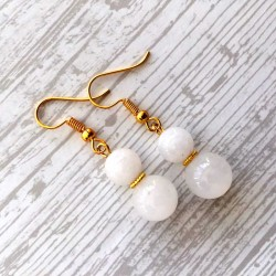 Earrings Jade White Gemstone Gold Natural Stone