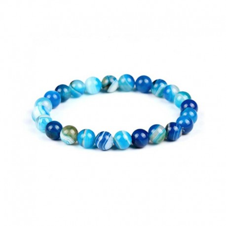 Blue Stripe Agate Gemstone Bracelet