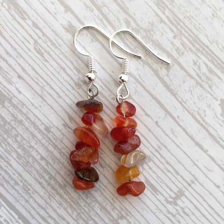 Natural Carnelian Gemstone Earrings Silver Plated