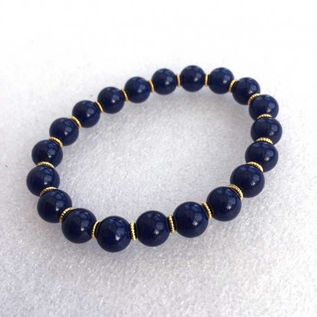 Lapis Lazuli & Gold Gemstone Bracelet 8mm beads