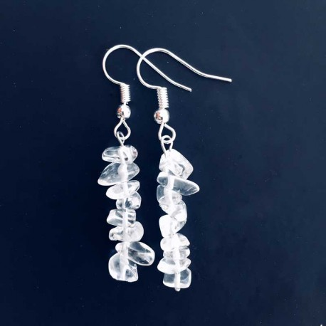 Rock Crystal Gemstone Earrings Silver Plated