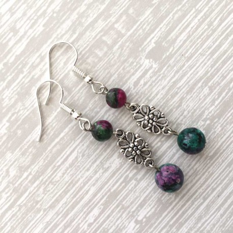 Ruby Zoisite Earrings Tibetan Silver