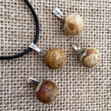 Picture Jasper Gemstone Ball Pendant & Leather Necklace