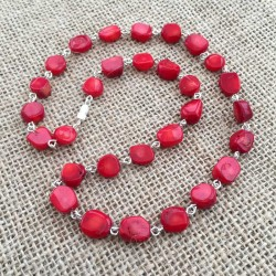 Red Coral Necklace Silver plated handmade