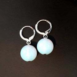 Opal Opalite Earrings Silver Leverback Hooks
