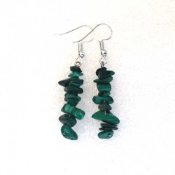 Natural Malachite Gemstone Earrings Silver Plated