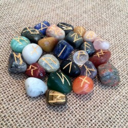 Rune Stone set 25 Gemstone Runes mix