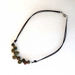 Natural Unakite & Leather Necklace