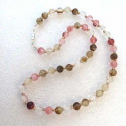 Tourmaline Watermelon Necklace Handmade with Silver plated clasp