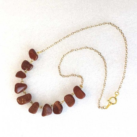 Goldstone & Gold Necklace handmade jewelry