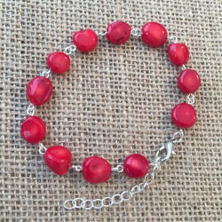 Red Coral Bracelet Silver plated