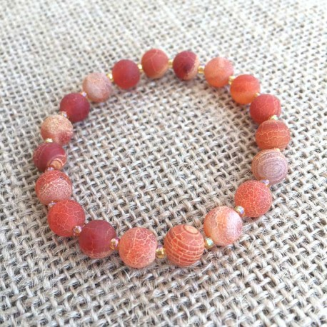 Agate Orange Frost Dream Gemstone Bracelet