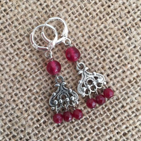 Ruby Silver Earrings Handmade Unique Design