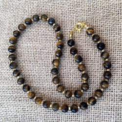 Tiger Eye Gemstone Necklace Gold Plated Clasp