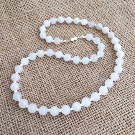 White Jade Necklace 8mm gemstone beads