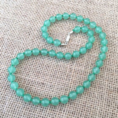 Aventurine Green Necklace gemstone beads 8mm