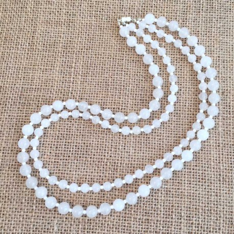 Jade White Double Necklace gemstone beads
