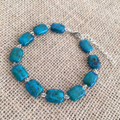 Azurite Chrysocolla Bracelet Silver plated
