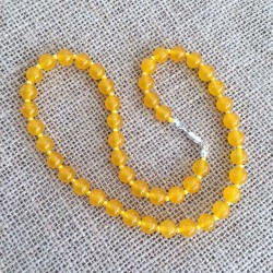 Jade Yellow Necklace 8mm gemstone beads