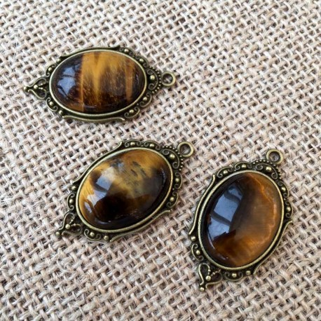 Tiger Eye Oval Pendant Antique Bronze