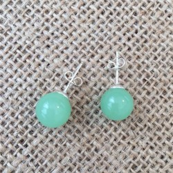 Aventurine Green Silver Stud Earrings