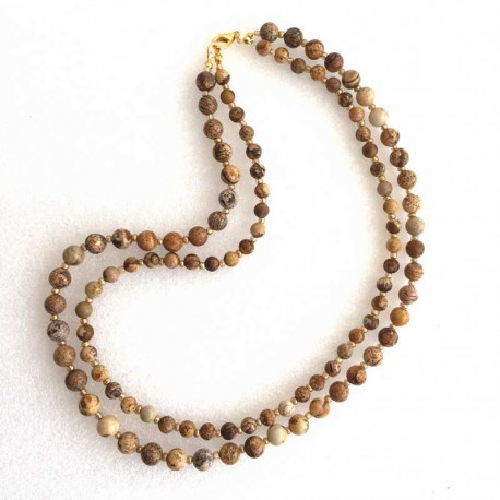 Picture Jasper Double Necklace Gemstone Beads