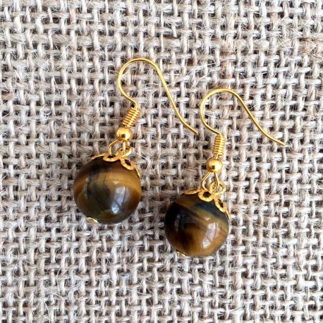 Tiger Eye Gemstone Earrings Gold Plated